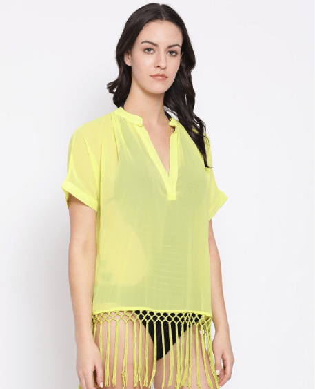 Oxolloxo Women Yellow Solid Cover-Up Dress